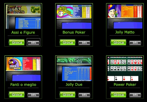 Tutti i video poker di 888